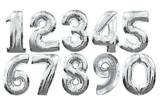 "16 INCH Letter A-Z - Alphabet Foil Balloon OR  16"" Digit Balloons Decoration Silver"