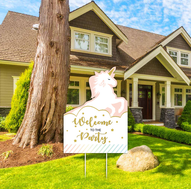 UNICORN - Welcome Lawn Sign - Baby Welcome or Birthday Party  - 1 Piece