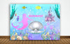 """LITTLE MERMAID""-GIRL BIRTHDAY PARTY BACKDROP FOR PHOTOGRAPHY BANNER  CAKE TABLE DECOR HOME DECORATION PHOTO BOOTH BACKGROUND"