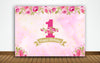 """ONE IS FUN"" -GIRL BIRTHDAY PARTY BACKDROP FOR PHOTOGRAPHY BANNER GIRL  KIDS EVENT CAKE TABLE DECOR HOME DECORATION PHOTO BOOTH BACKGROUND"