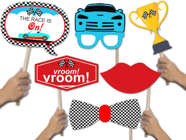 READY SET GO  ! RACING CAR  - 20 Piece Birthday Party Photo Booth Props Kit