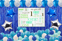 First Birthday Party Decorations Complete Set for Boys Birthday Party -Backdrop & Decorations Kit with Pump Glue Dot & Balloon Strip