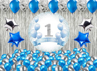 First Round Birthday Party Decorations Complete Set for Boys Birthday Party -Backdrop & Decorations Kit with Glue Dot & Balloon Strip