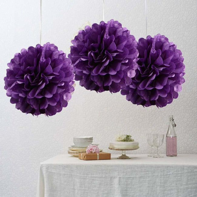 Purple Pom Pom flower Decoration  for birthday parties, Anniversary party & baby shower
