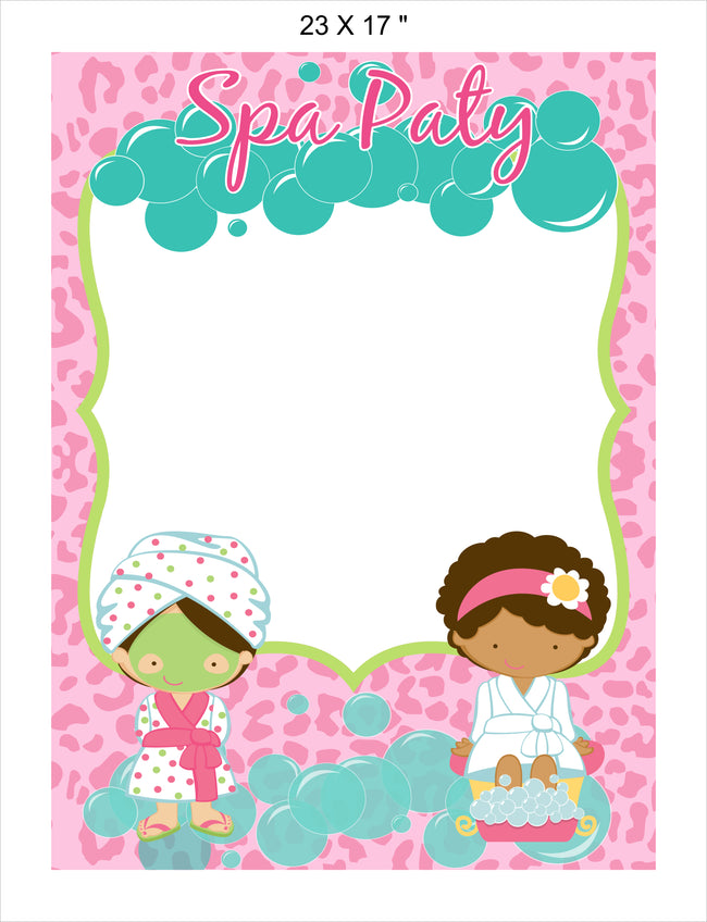 Spa Party - Birthday Party Selfie Photo Booth Picture Frame and Props - Printed on Sturdy Material