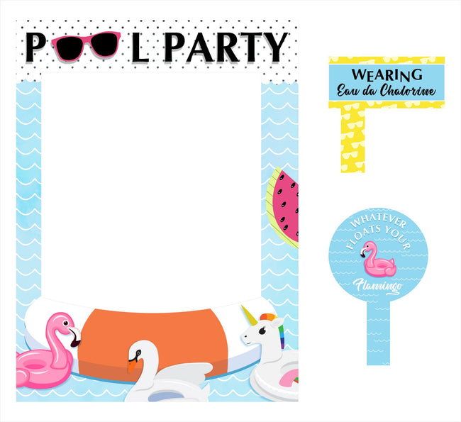 Splish Splash Pool Party - Birthday Party Selfie Photo Booth Picture Frame and Props - Printed on Sturdy Material