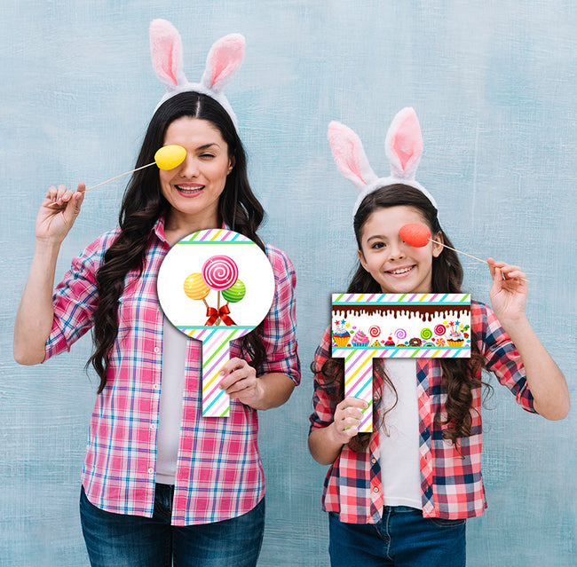 Candy Land - Birthday Party Selfie Photo Booth Picture Frame and Props - Printed on Sturdy Material