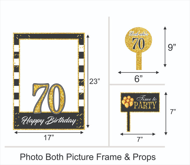 70th Milestone Party Selfie Photo Booth Picture Frame and Props - Printed on Sturdy Material