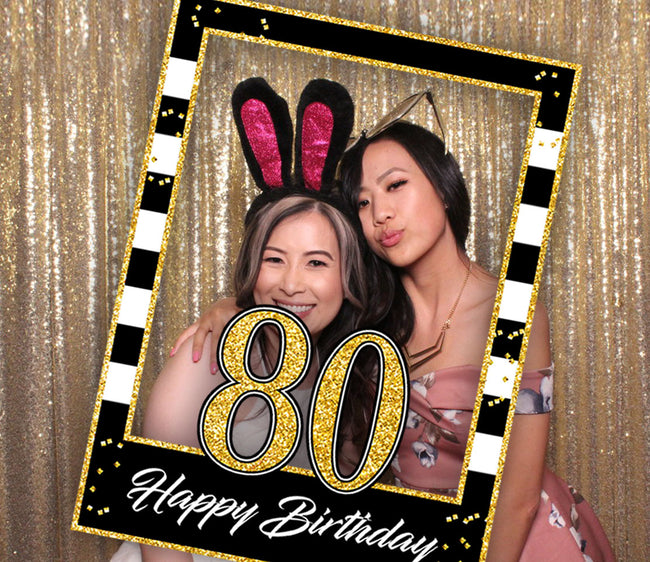80th Milestone Party Selfie Photo Booth Picture Frame and Props - Printed on Sturdy Material