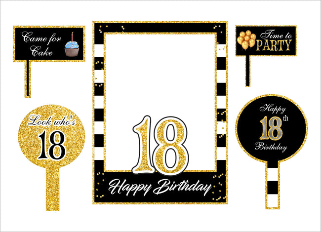 18 Milestone Party Selfie Photo Booth Picture Frame And Props - Printed On Sturdy Material