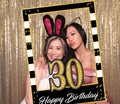 30th Milestone Party Selfie Photo Booth Picture Frame and Props - Printed on Sturdy Material