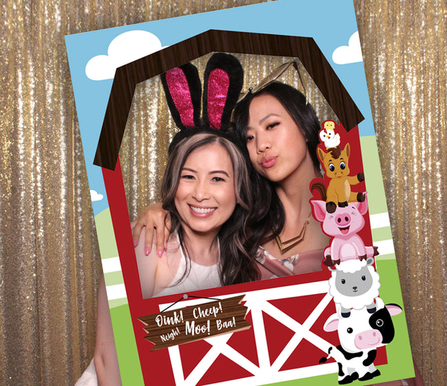 Barnyard Party Selfie Photo Booth Picture Frame and Props - Printed on Sturdy Material