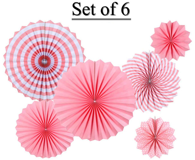 Paper Fans for Decoration Birthday Party Trend Party Fan for Wedding Birthday Showers - Pink and White (Pack of 6)