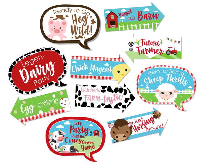 Barnyard Theme - 10 Piece Birthday Party Photo Booth Props Kit