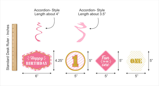 """ONE IS FUN ""-GIRL HANGING SET DECORATION (PACK OF 12)"