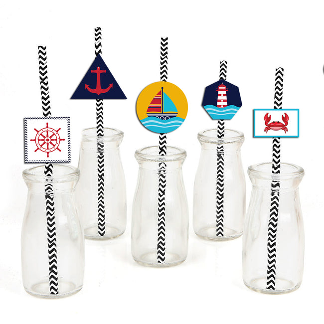 Nautical-Ahoy Straw Set -Birthday Decoration - Set of 25