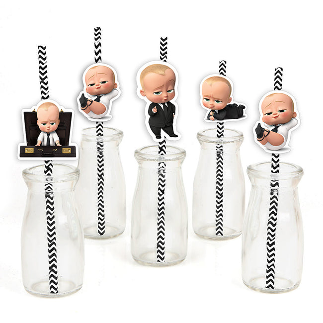 Boss Baby Straw Set -Birthday Decoration or Baby Welcome - Set of 24