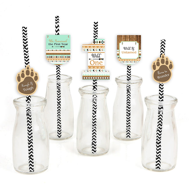 """Wild One"" Theme -  Straw Set -Birthday Decoration- Set of 25"