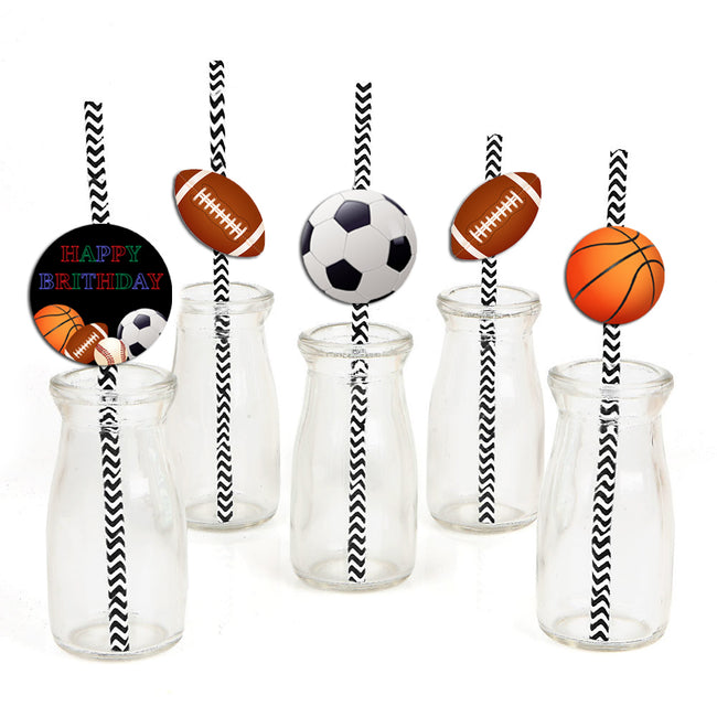 Only Sports straw Set -Birthday Decoration or Baby Welcome - Set of 24