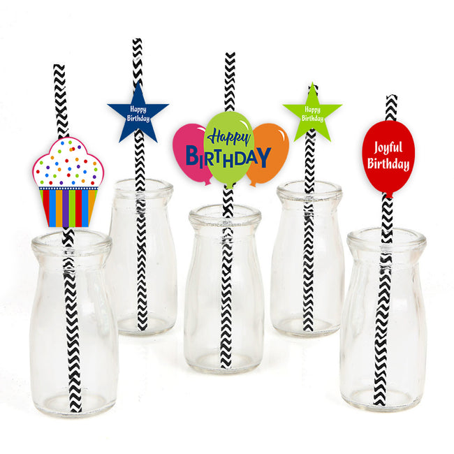 Joyful Straw Set -Birthday Decoration - Set of 25