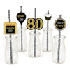 80th Milestone Straw Set -Birthday Decoration - Set of 25