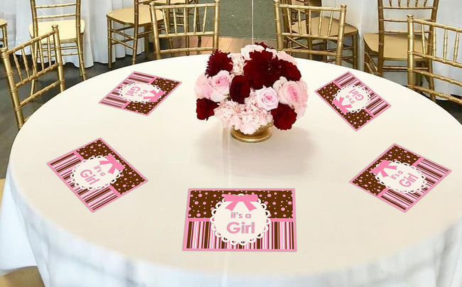 """Baby Girl Cute teddy"" Themed Table Placemats for baby shower, theme parties - Pack of 6"