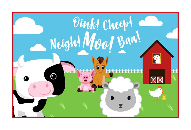 Barnyard Theme Table Placemats for birthday theme parties - Pack of 6