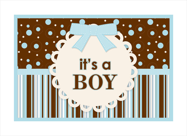"""Baby Boy Cute Teddy"" - Themed Table Placemats for baby welcome, theme parties - Pack of 6"