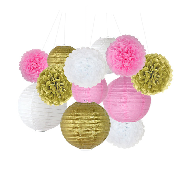 Pink White and Gold White Tissue Paper Pom Poms and Paper Lanterns -Birthday Party Decorations Bridal Shower Decorations Wedding Decorations Baby Shower Decorations
