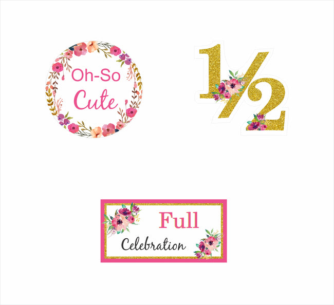 """1/2 Birthday"" - Straw Set -Birthday Decoration - Set of 25"