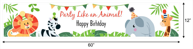 Wild Safari Banner for Wall Decoration, Cake Area, Entrance - Perfect for Birthday Party