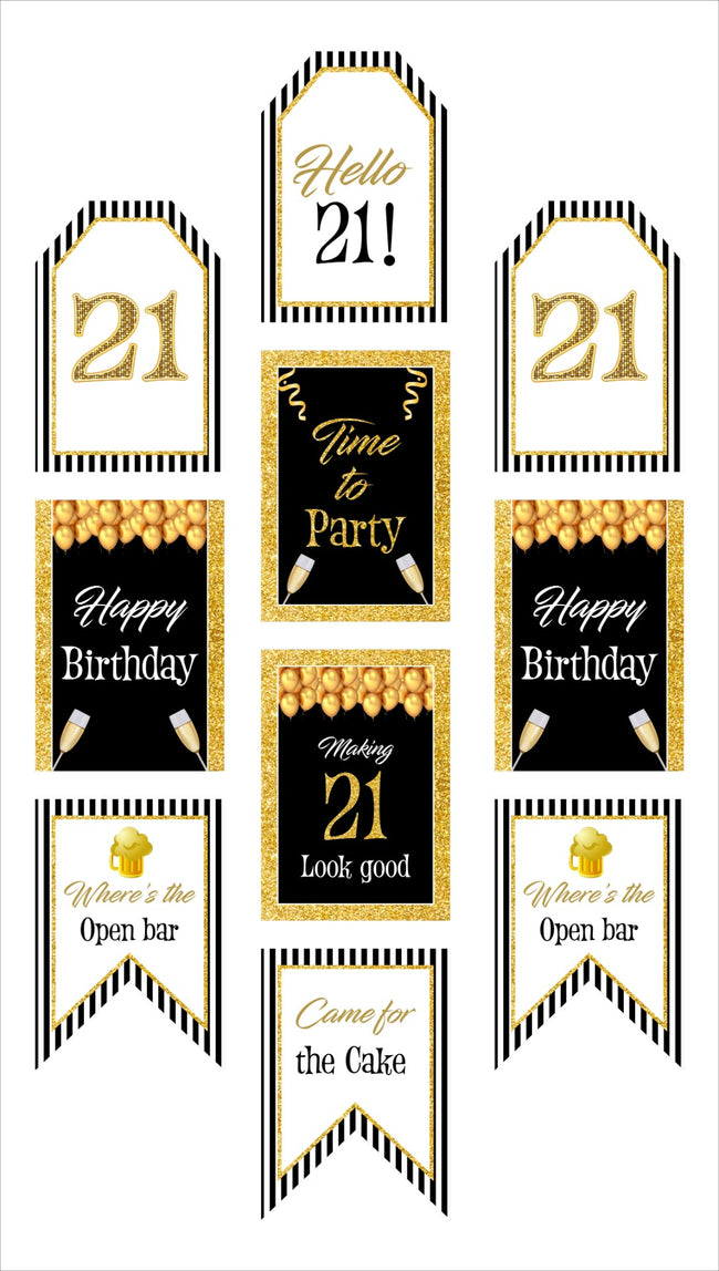 21st Milestone Banner for Wall Decoration, Cake Area, Entrance