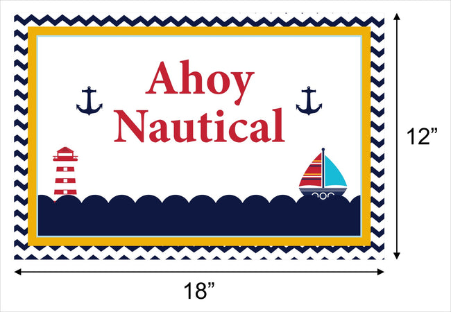 Nautical-Ahoy Themed Table Placemats for baby shower, theme parties - Pack of 6