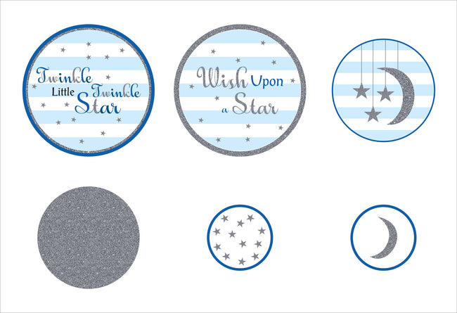 """Twinkle Twinkle Little Star"" - Boy  Birthday Party Decorations - Large Confetti  - Set of 27"