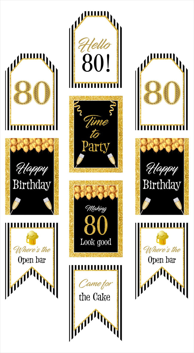 80th Milestone Banner for Wall Decoration, Cake Area, Entrance