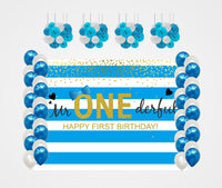"""Combo Kit -""""Fun Is One """"Decoration Kit With Backdrop ,Balloons And Pom Pom /Lanterns"""""""
