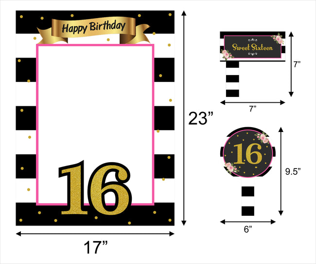 16 Milestone Party Selfie Photo Booth Picture Frame And Props - Printed On Sturdy Material