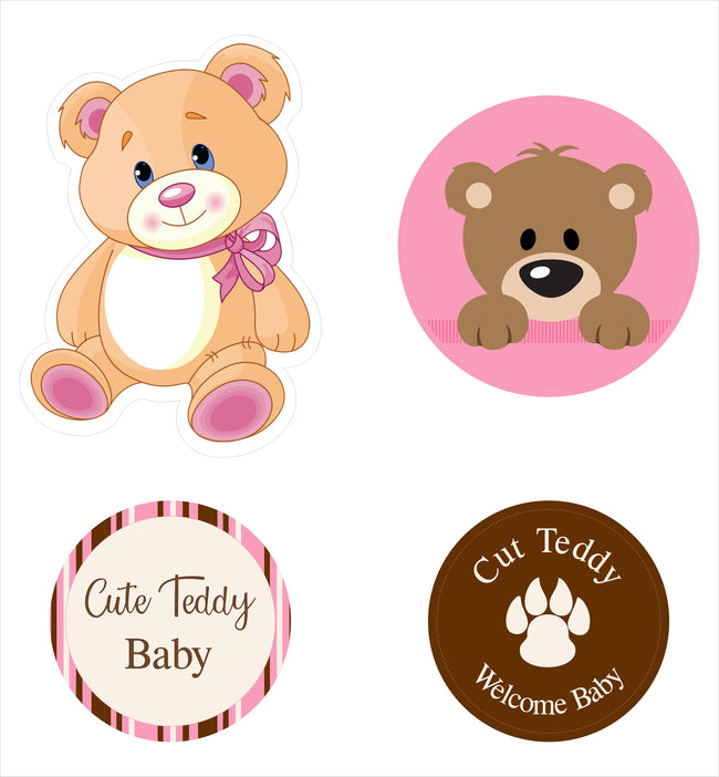 """Baby Girl Cute Teddy "" Theme Hanging Set For Decoration - Set Of 12"
