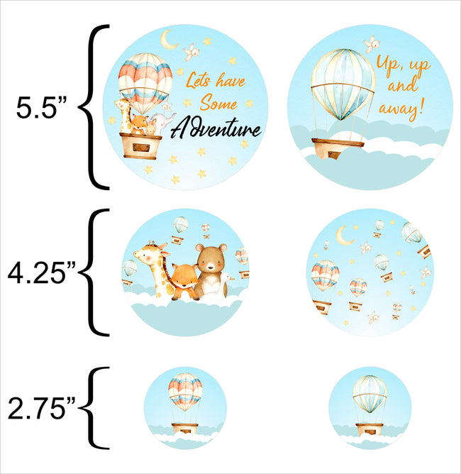 UP UP AND AWAY - HOT AIR -  BIRTHDAY PARTY DECORATIONS - LARGE CONFETTI  - Set of 27