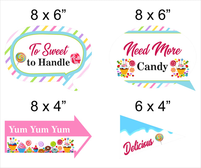 Candy Land Theme - 10 Piece Birthday Party Photo Booth Props Kit