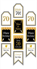 7Oth Milestone Banner for Wall Decoration, Cake Area, Entrance