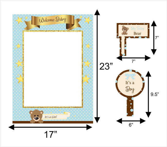 """Baby Boy Cute Teddy ""-  Baby  Boy Welcome  Selfie Photo Booth Picture Frame and Props"