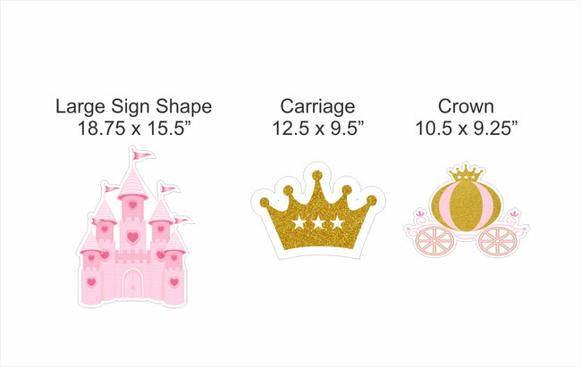 """CROWN PRINCESS""-GIRLS CUTOUT BIRTHDAY DECORATION (PACK OF 6)"