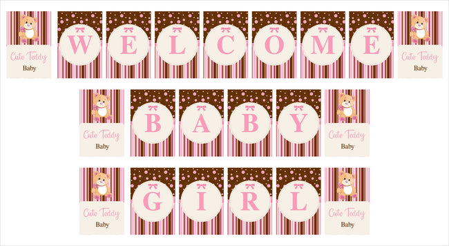 """Welcome Baby Girl ""- Cute Teddy Banner (1 Piece)"