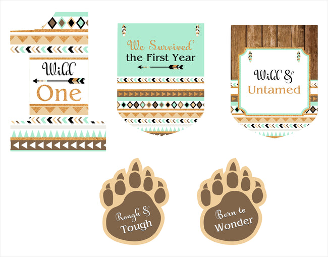 "Wild One"" Theme Cutouts  Pack for birthday decoration - Pack of 5"