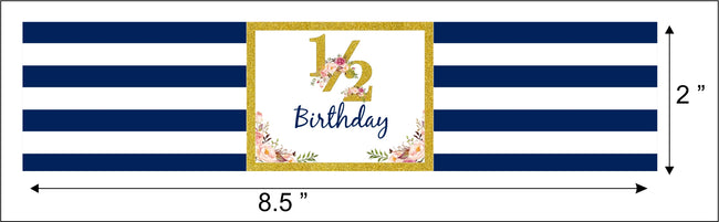"""1/2 Birthday"" - Birthday Party Water Bottle Sticker Labels ( Set of 10)"