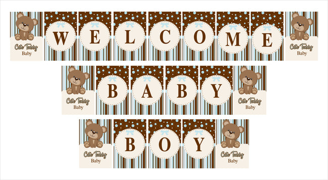 """Welcome Baby Boy"" -  Cute Teddy Welcome Baby Boy Banner Decoration"