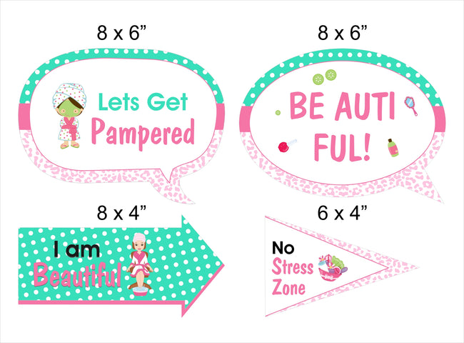 Spa Theme 10 Piece Birthday Party Photo Booth Props Kit