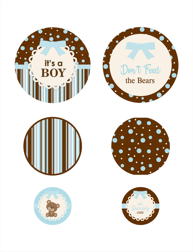 """Baby Boy Cute Teddy""  Baby Boy Welcome Decorations - Large  Confetti  - Set of 27"