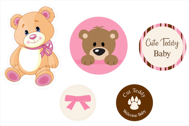 """Baby Girl Cute Teddy"" -Cutouts Pack For Baby Welcome Decoration - Pack Of 5"